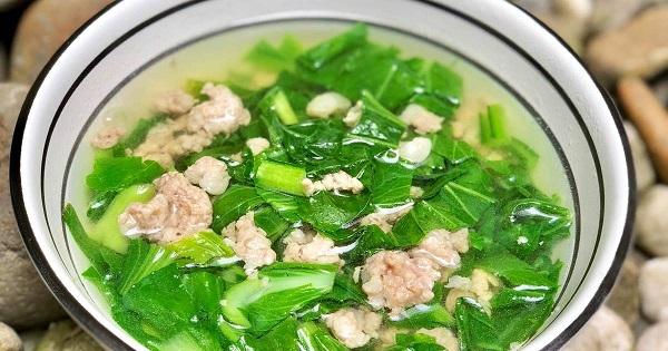 Canh cải ngọt nấu thịt băm